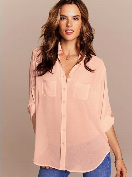Tuck this Victoria's Secret Boyfriend shirt ($60) into a pencil and finish off the look with pumps for a more casual afternoon Easter celebration.