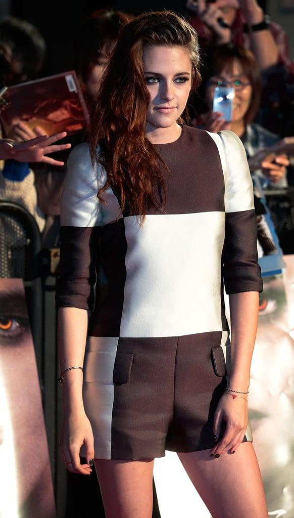 Kristen Stewart chose a printed jumpsuit to promote Breaking Dawn — Part 2 in Japan.