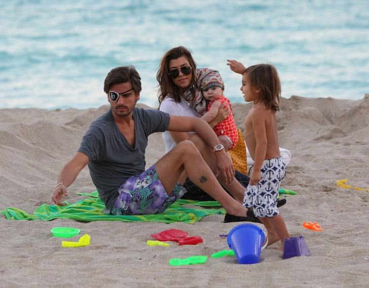 Kourtney Kardashian and her family hung out in the sand.