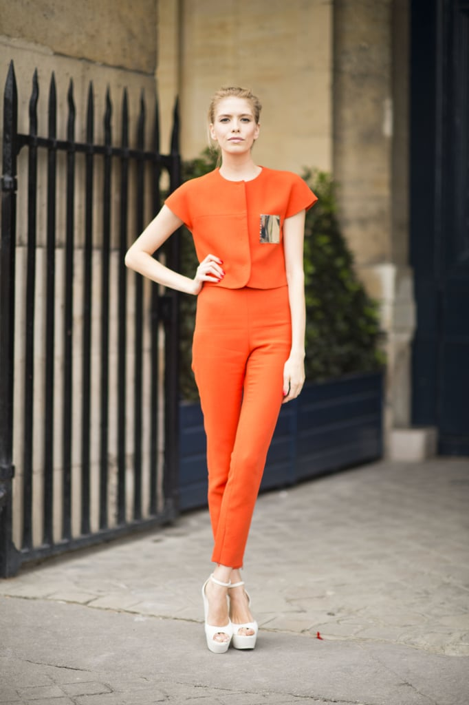 This is everyday polish to the nth degree. The trick? Perfect proportions, a tangerine hue, and major platforms gave this look its posh power.