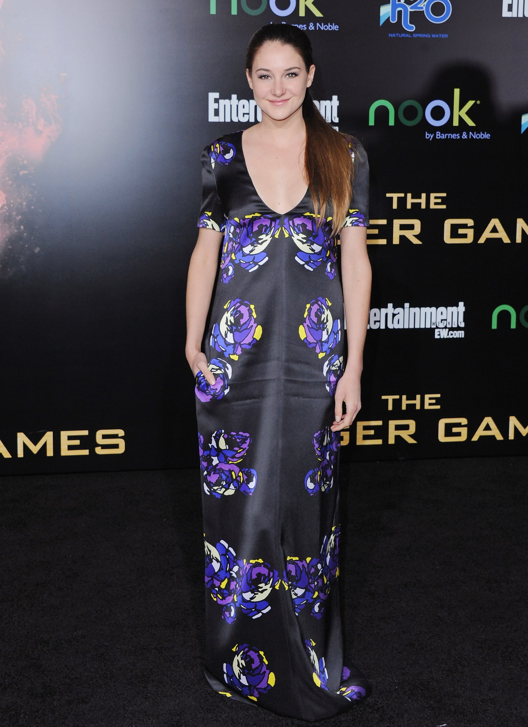 Shailene Woodley in a Floral Honor Maxi at The Hunger Games 2012 LA Premiere