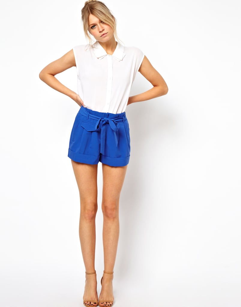 Add a pop of cobalt to your closet with these Asos belted shorts ($38).