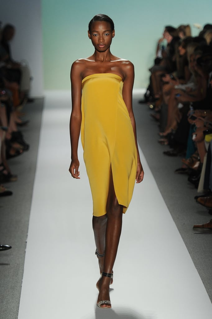 Tibi's gorgeous, citrus-hued strapless offers the minimalist play on sexy style.