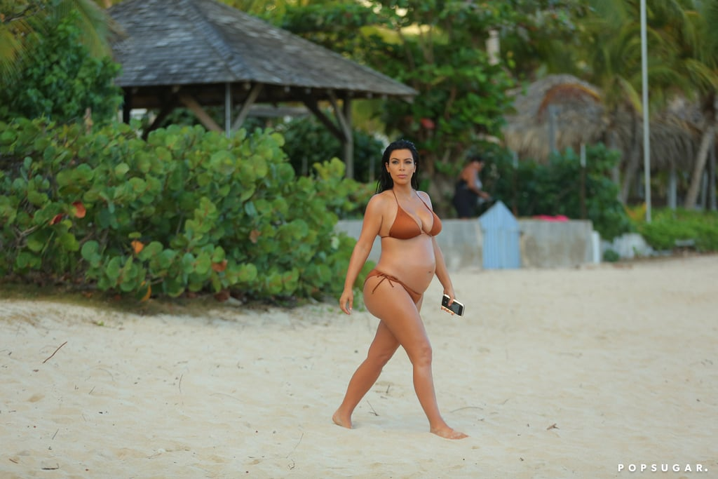 She showed off her growing belly during a trip to St. Barts in August 2015.