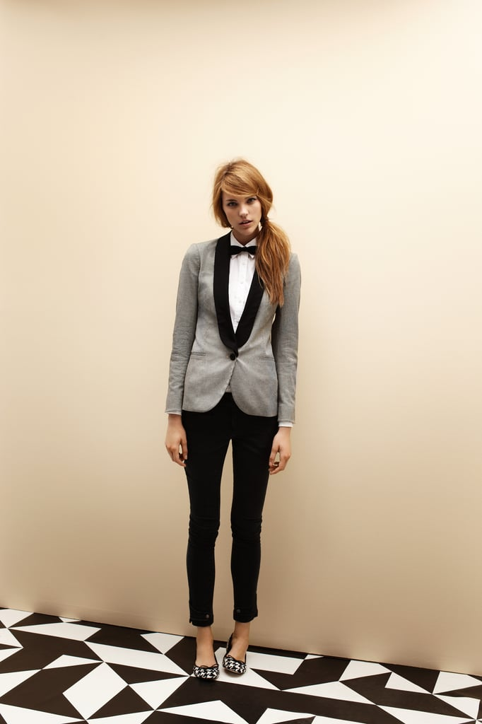 Contrast Collar Blazer $279, Carrie Shirt $99, Silk Bowtie $59, Skinny Pant $149 and Ballet Flats $129.