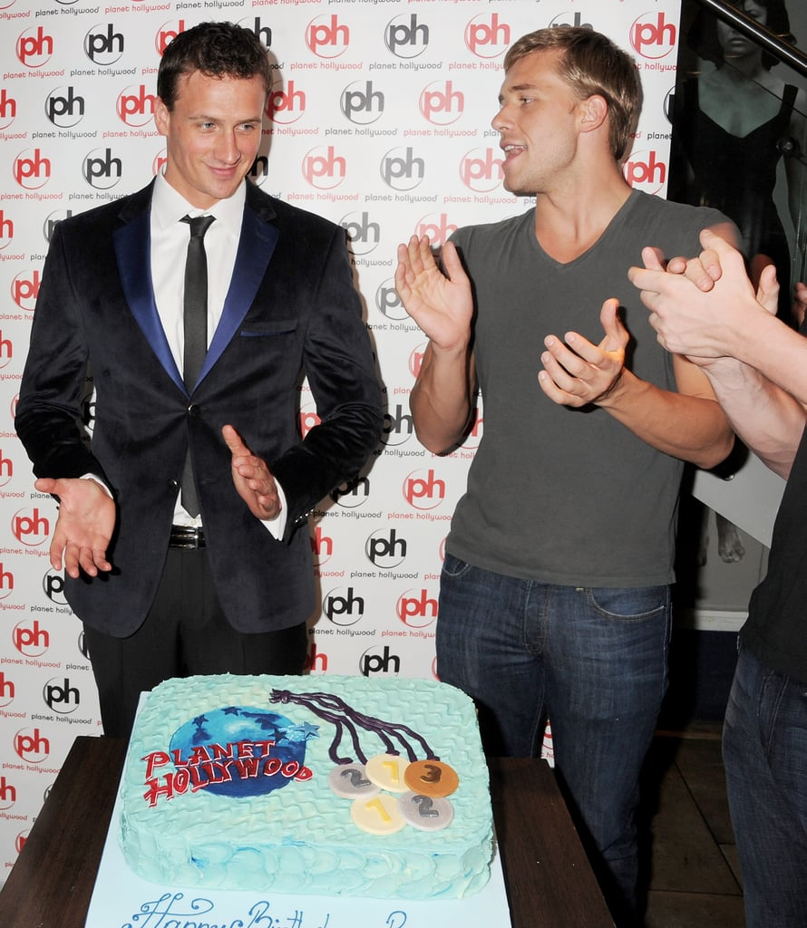 Ryan Lochte was presented with a birthday cake and a round of applause.