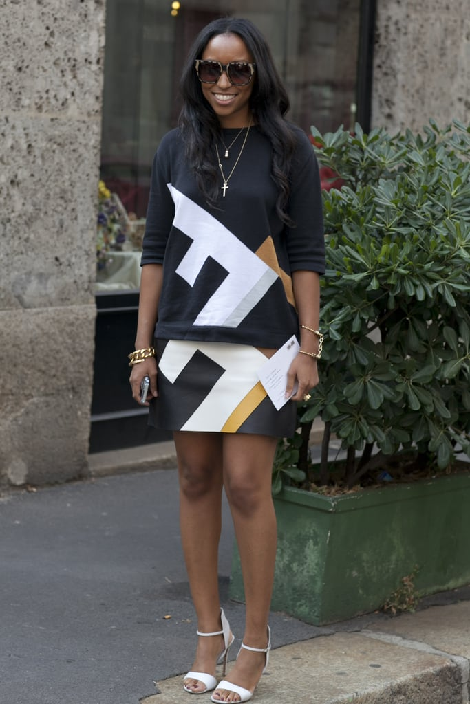 Shiona Turini did statement print on statement print — with sleek white heels to finish.