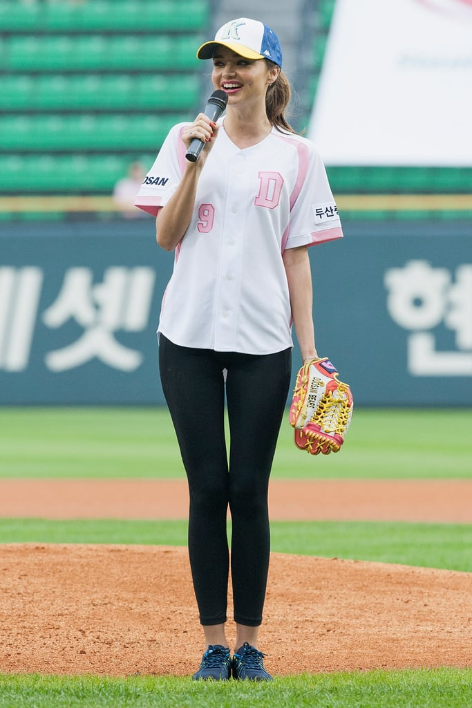 Proving baseball is way more than the American pastime, Miranda Kerr said a few words at a championship game in South Korea.