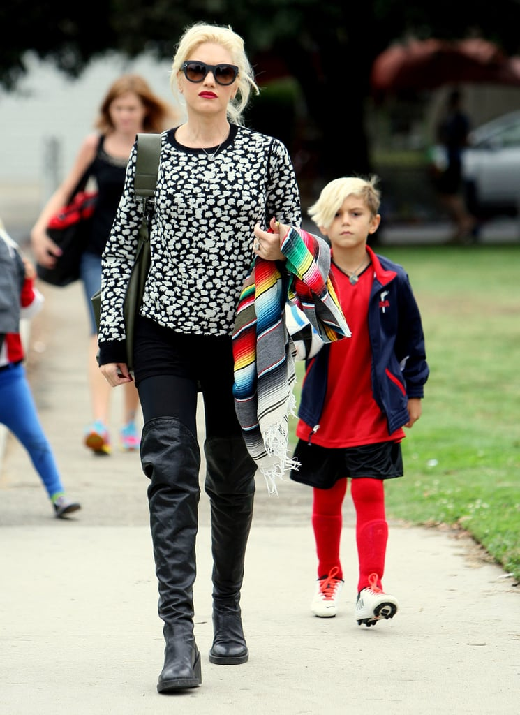 Gwen Stefani walked with her son Kingston.