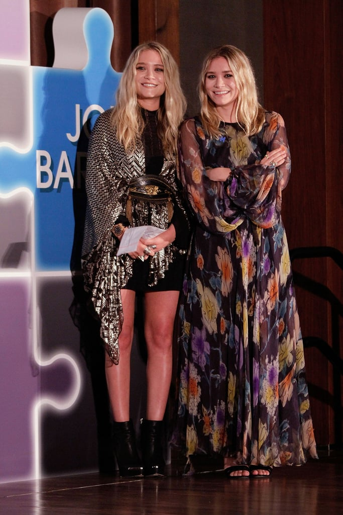 Twinning combo: High-wattage prints and high-octane hues were the look of choice at the 32nd American Image Awards in 2010.  Mary-Kate belted a metallic chevron-print wrap over her black staples, then slipped on a pair of leather ankle boots. Ashley was all smiles in a sheer floral gown and dual-strap sandals.