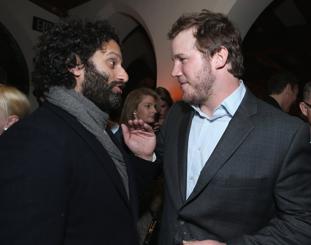 Chris Pratt chatted with a friend.