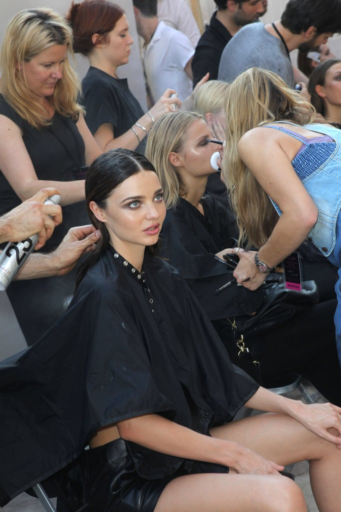 Miranda Kerr backstage at Lanvin.