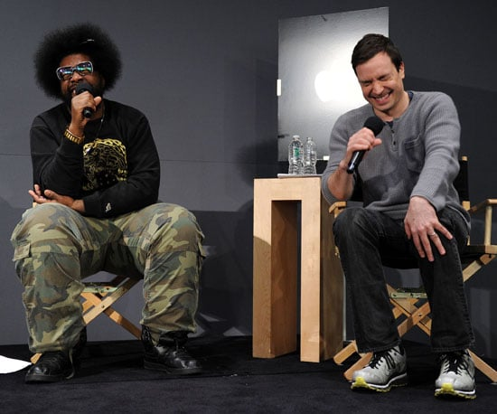 Slide Photo of Jimmy Fallon and Questlove Answering Questions at the Apple Store in NYC