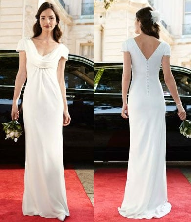 Remember how Pippa turned heads at the Royal Wedding? Of course you do. Do the same in this replica gown that comes pretty darn close to the real thing — at a fraction of the price.  David's Bridal Chiffon Gown with Draped Cowl Neck ($199)