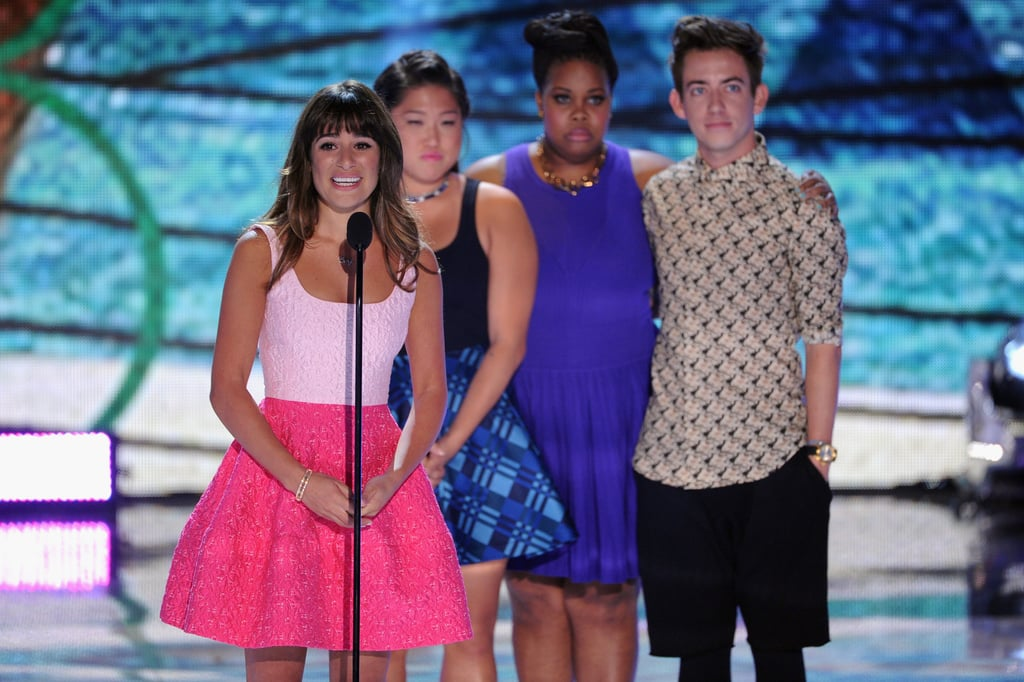 Lea Michele was joined by her Glee castmates Jenna Ushkowitz, Amber Riley, and Kevin McHale on stage at the Teen Choice Awards.