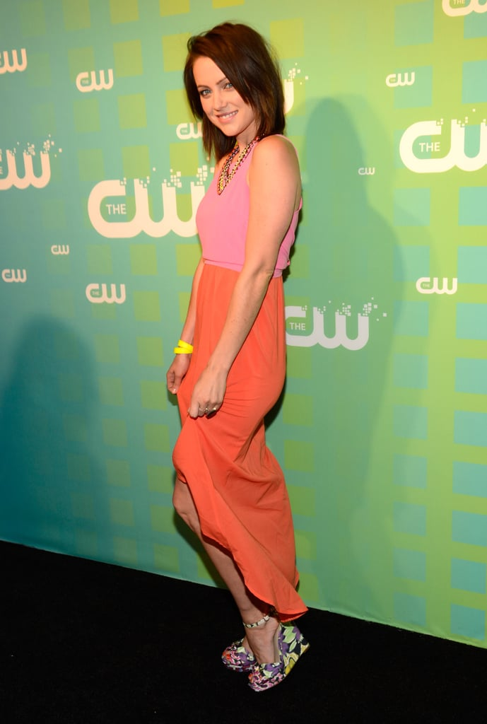 Jessica Stroup wore a colorful pink and orange combo.