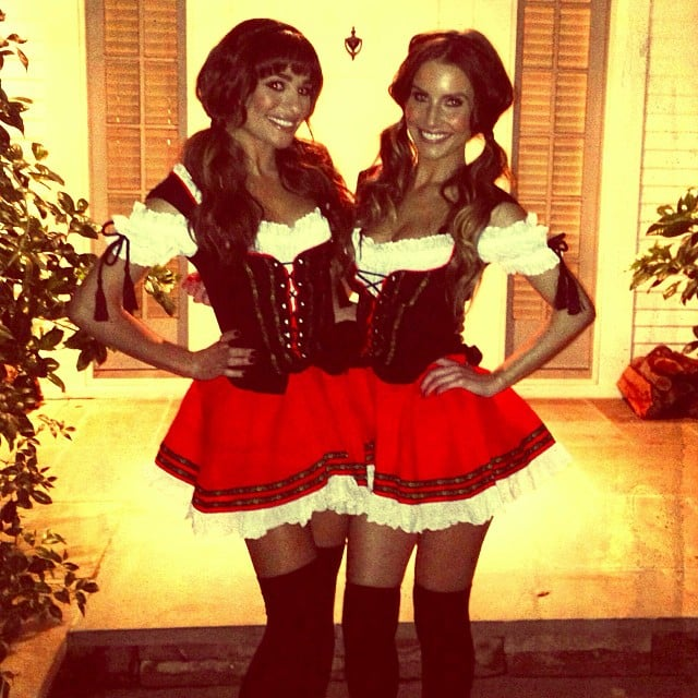Lea Michele sported matching costumes with a friend for Halloween. Source: Instagram user msleamichele