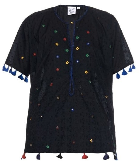 Thierry Colson Pompom Garden-embroidered cotton top ($344)