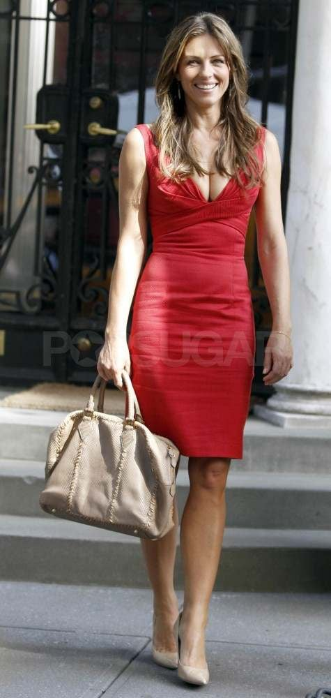 Elizabeth Hurley made an appearance on set in a sexy red dress paired with neutral accessories.