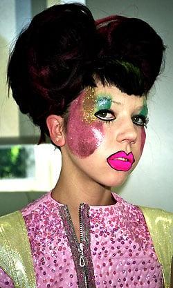 Backstage Photos Catwalk Models at Emma Bell London Fashion Week Show Spring 2009. Cartoon Glitter Makeup and Big Hair