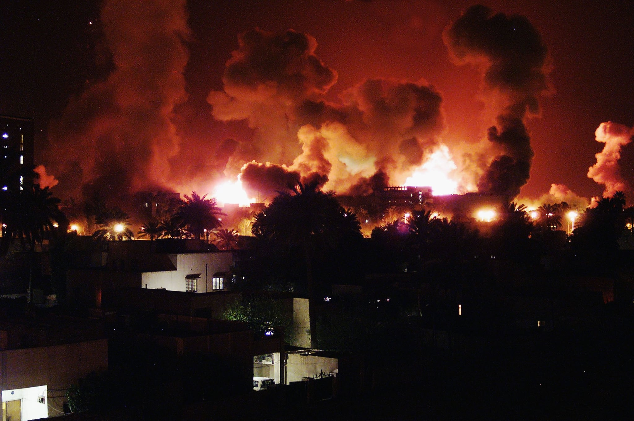 Explosions during the first few minutes of a massive air attack on March 21, 2003 in Baghdad, Iraq.