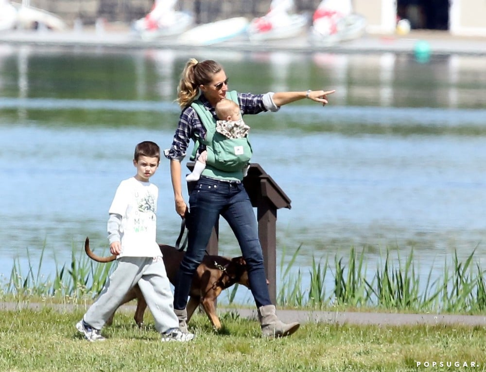 Gisele Bündchen went for a walk in a Boston park with Jack and daughter Vivian.
