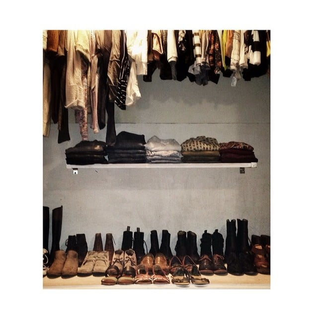 Not only is this closet maven superorganized (major points), but she uses an extra floating shelf to keep all her pants in sight while out of the way. Genius.  Source: Instagram user thee__tatianatirzah