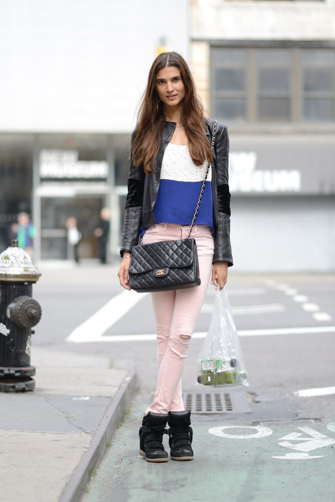A colorblocked tee and pastel denim gave a leather jacket and a pair of high-tops an instant Summer-feeling update. Source: Le 21ème | Adam Katz Sinding