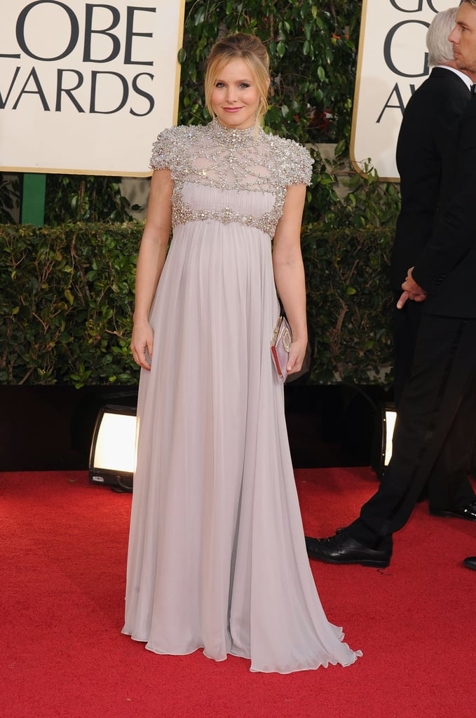 A pregnant Kristen Bell posed in Jenny Packham at the Golden Globes.