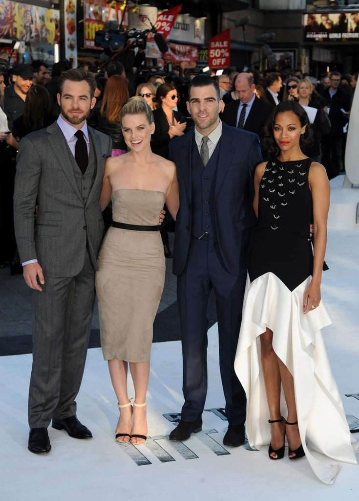 Chris Pine, Alice Eve, Zachary Quinto and Zoe Saldana attended the Star Trek Into Darkness premiere in London.