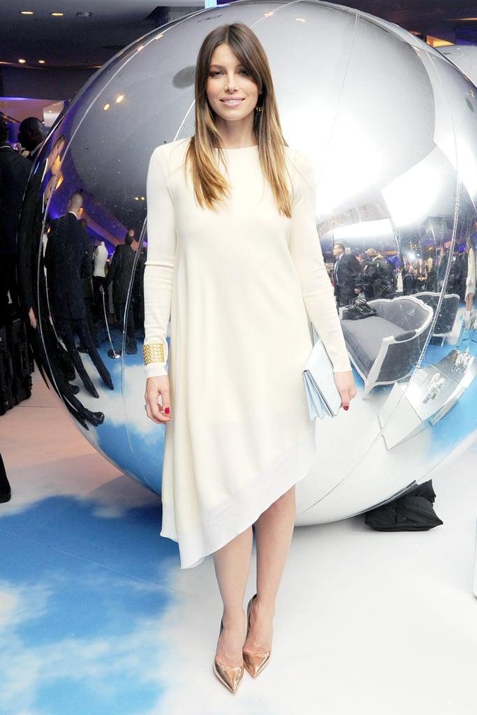 Jessica Biel in Cream Dior Dress