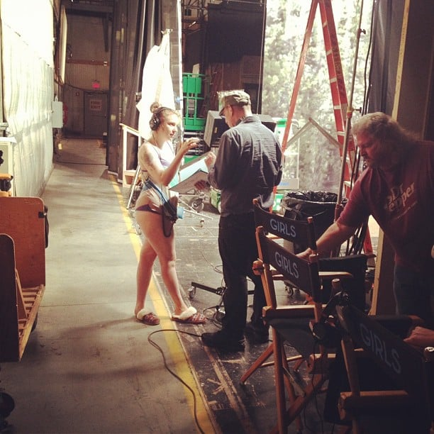 Lena Dunham got to work on the set of Girls. Source: Instagram user lenadunham