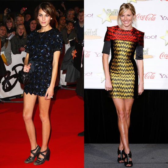 Each sporting her own version of the leg-baring statement minidress.