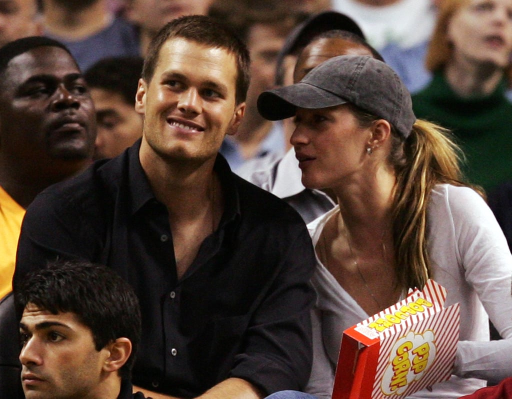Tom Brady and Gisele Bündchen ate popcorn while watching the Boston Celtics play in May 2008.