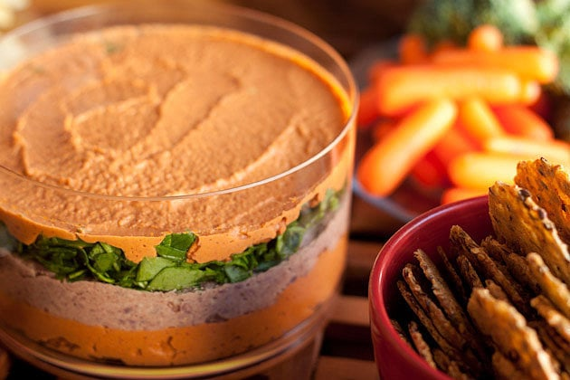 Sun-Dried Tomato and Chili-Walnut Layered Dip