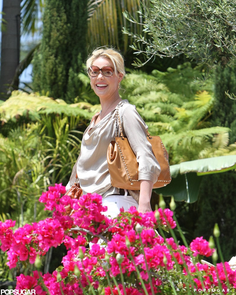 Katherine Heigl looked happy to be visiting a friend in LA.