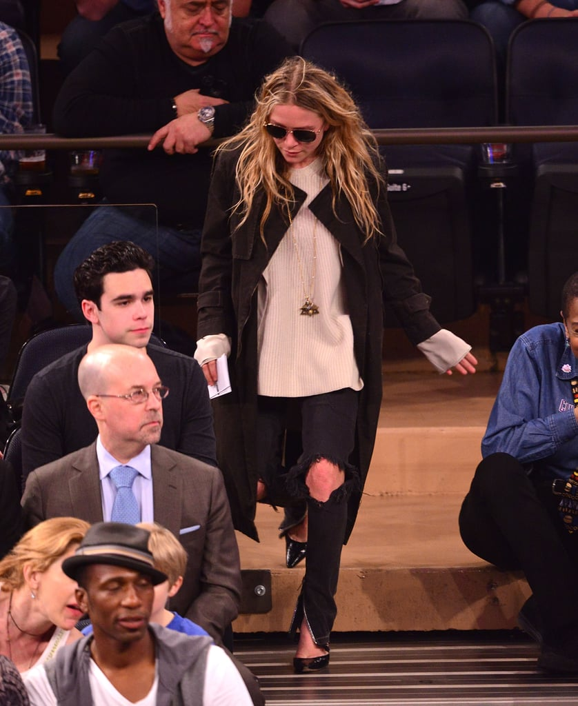 Jeans work, always. Wear your most fashion-forward pair, even if they're ripped and zippered liked Mary-Kate Olsen's.