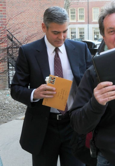 Pictures of George Clooney Arriving on Set of The Ides of March in Ohio
