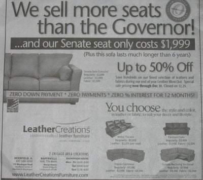 Sofa Ad Makes Fun of Governor Rod Blagojevich