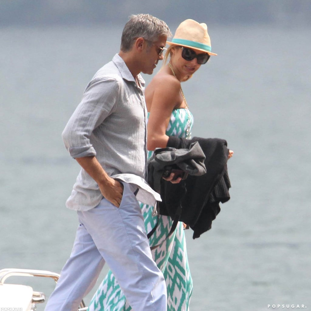George Clooney and Stacy Keibler vacationed in Lake Como in June 2012.