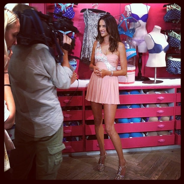 Alessandra Ambrosio was all smiles at Victoria's Secret in NYC for their FNO events.  Source: Instagram user victoriassecret