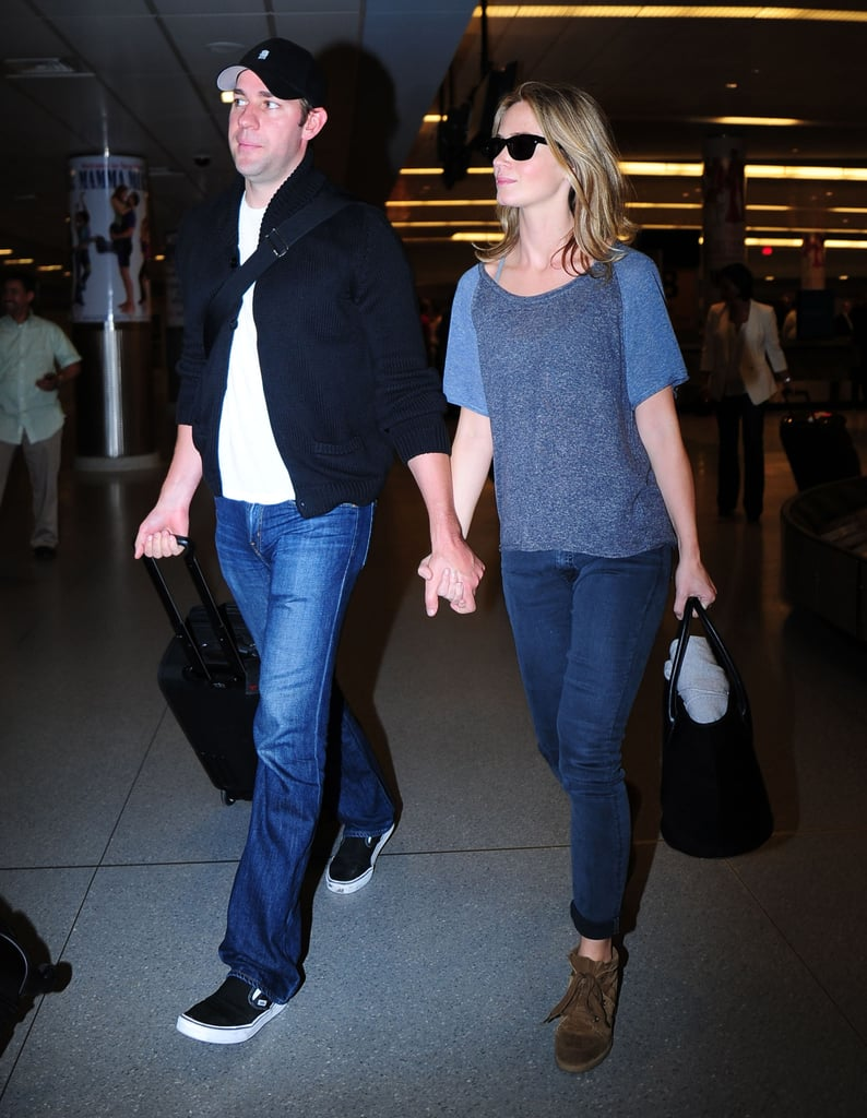We love that Emily Blunt's two-tone tee and wedge sneakers went above and beyond the usual tee and sneakers.