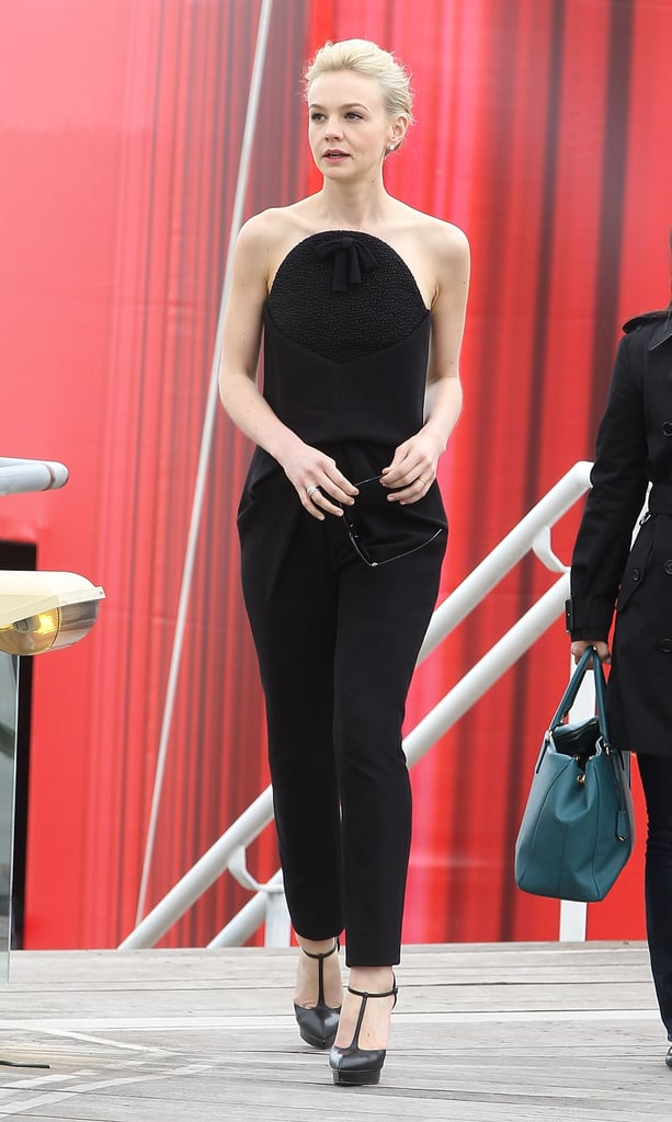 Carey Mulligan wore a Fall 2013 Balenciaga and Saint Laurent sandals to The Great Gatsby's photocall at Cannes.