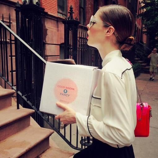 Coco Rocha made a special stop to deliver her signature Fancy gift box in NYC. Source: Instagram user cocorocha