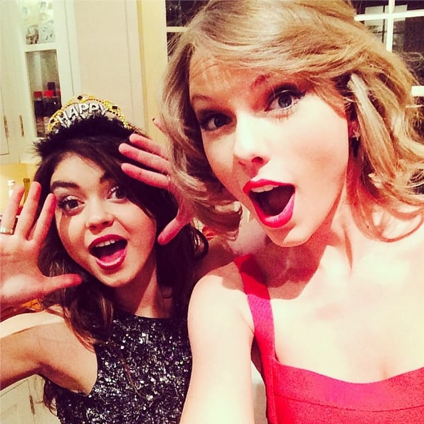 Taylor Swift and Sarah Hyland rang in 2014 in style. Source: Instagram user taylorswift