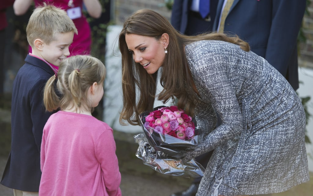 She bent down to say hello to a couple of children while visiting the Hope House charity in South London in February. The all-female rehabilitation center is one of the projects run by Kate's patronage, Action on Addiction.