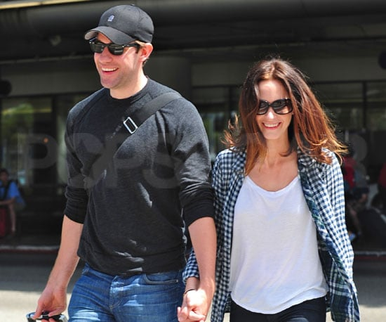 Slide Picture of Emily Blunt and John Krasinski Holding Hands at LAX