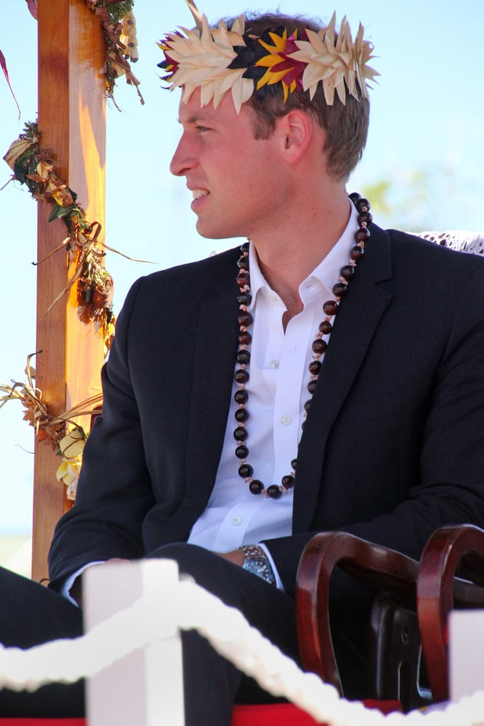 Prince William was carried into a farewell ceremony in Tuvalu.