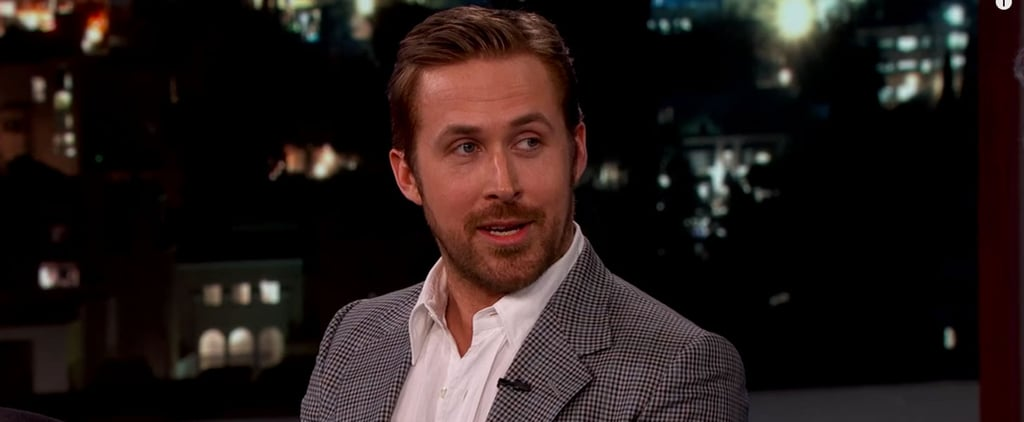 """Ryan Gosling Wears a """"Wildly Inappropriate"""" Suit on Jimmy Kimmel Live, Can't Stop Covering His Junk"""