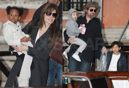 Photos of Brad and Angelina w/ kids